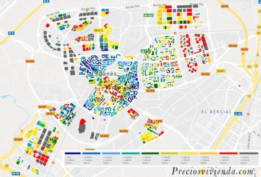 mapa de calor del precio de la vivienda en leganes